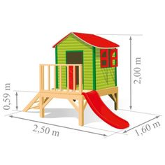 Detalles de casa de madera con tobogan y arenero para for Jardin infantil serrano 78