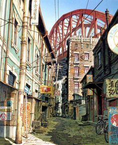 Enjoy The Art of Tekkon Kinkreet in gallery of Concept Art & Background Art made for the movie. Tekkonkinkreet is a three-volume seinen manga series by Animation Background, Art Background, Design Spartan, Drawn Art, Urban Sketchers, Anime Scenery, Environment Design, Environment Concept, Environmental Art