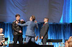 Nathan Fillion, Seamus Dever, and Jon Huertas goofing around.