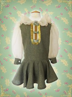 A personal favorite from my Etsy shop https://www.etsy.com/listing/256267024/girls-vintage-dress-girls-green-beige
