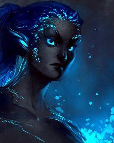 """(Not my art) """"their eyes seem to shine, their skin seems to sparkle, and their hair seems to be made of strands of color in the wind."""" Ok, this is actually fan art for the Sylvari from Guild Wars labeled """"Mudora of the Night by Mudora"""". Fantasy Races, Fantasy Warrior, Fantasy Art, Woman Warrior, Character Portraits, Character Art, Character Concept, Guild Wars 2, Alien Concept"""