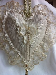 Cream and Gold Heart with Handmade Butterfly Victorian Crafts, Vintage Crafts, Lace Heart, Gold Heart, Valentine Crafts, Valentines, Sewing Crafts, Sewing Projects, Decoration Shabby