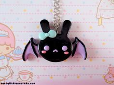 Pastel Creepy Cute Bat Bunny Necklace from NerdyLittleSecrets on Etsy. Saved to Pastel Goth.