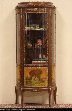 Painted Curved Glass China Cabinet