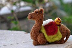 Needle felted nativity sitting camel