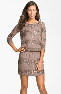 Adrianna Papell Embellished-Beaded-Lines Scoop-Open-Back Blouson three-quarters-sleeves Short Elegant Dress Brown