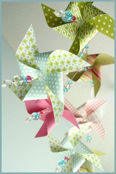 Pink Blue Green Classic Pinwheel Mobile by fischtaledesigns, $85.00    One like this without the blue