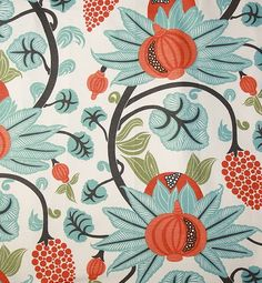 Maharani Linen Fabric A pomegrante trail design in turquoise charcoal and orange, printed on an off white linen