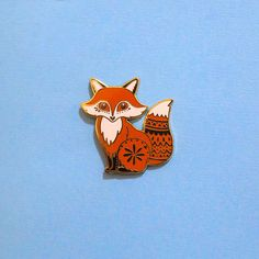 Fox Enamel Pin with Rubber Clasp // Woodland Critter Hard