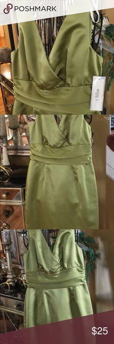 👗👗NWT Eliza J. Dress Eliza J (New York) Green satin dress sleeveless with v-neckline, gathered waist line. Great for that special occasion Eliza J Dresses Midi