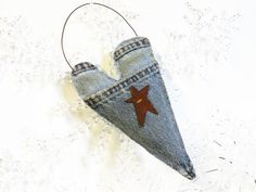 Denim Heart Ornament  Rustic Country Decor  by BlueRidgeMercantile