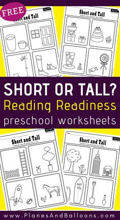 Free short and tall worksheets for preschool to accompany your reading readiness activities. Kindergarten Readiness, Preschool Literacy, Homeschool Kindergarten, Free Preschool, School Readiness, Homeschooling, Preschool Rules, Preschool Centers, Printable Activities For Kids