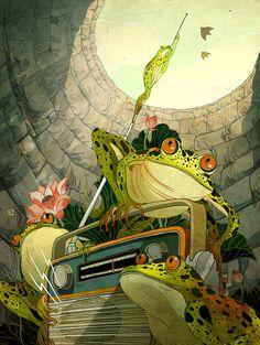 radio frogs - victor nagai http://www.pinterest.com/000Zaza000/frog-prince/