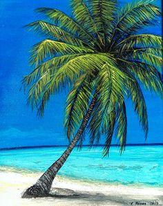 25 Ideas for palm tree painting acrylic beach scenes Palm Tree Sketch, Palm Tree Drawing, Tree Sketches, Beach Drawing, Beach Mural, Beach Art, Tree Photography, Landscape Photography, Tree Artwork