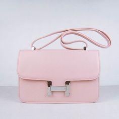 Hermes Constance Bag Silver Metal Pink
