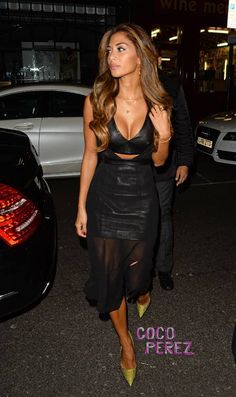 Nicole Scherzinger Paired Her Heels With A Black Guy Laroche Outfit That Included A Leather Bustier A Leather Miniskirt And A Chiffon Overlay