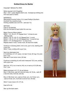 Barbie Clothes Patterns, Crochet Barbie Clothes, Doll Clothes Barbie, Barbie Dress, Barbie Doll, Clothing Patterns, Crochet Barbie Patterns, Knitted Doll Patterns, Crochet Doll Dress