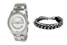 Coffret montre à quartz en acier et bracelet - Argenté