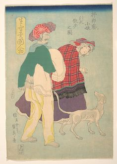 Utagawa Sadahide (Japanese, 1807–1873). French Girl Walking a Dog Accompanied by a Siamese Servant, November 1860. Edo period (1615-1868). Japan. The Metropolitan Museum of Art, New York. Bequest of William S. Lieberman, 2005 (2007.49.119) #dogs