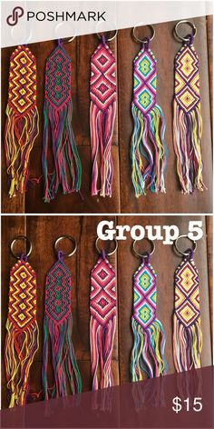 "TOH Boho Flat Woven Keychains (How 2 order below) How to order:  1.  LMK your item/color combo 2. Pricing: 2 keychains = $15       1 bracelet + 1 keychain = $12  *Keychains are approx 8"" long  *Woven threads by hand   Ask ALL questions before buying, sales are final. I try to describe the items I sell as accurately as I can but if I missed something, please LMK FIRST so we can resolve it before you leave < 5rating.   TRADES/OFFLINE TRANSACTIONS LOWBALLING ✅Use OFFER BUTTON please   &  Free…"