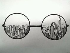 "drawing idea, with a corrupt, damaged, war-ridden city behind it. ""Behind the lense"" Could also do with camera and Photoshop instead of glasses"