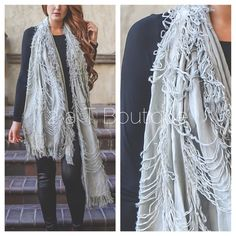 Distressed scarf DO NOT buy this listing, comment below and I will make you a personal listing  Perfectly distressed scarf available in grey. Adds the perfect amount of texture to any outfit. Limited quantities available. TK13253 2 a T Boutique  Accessories Scarves & Wraps
