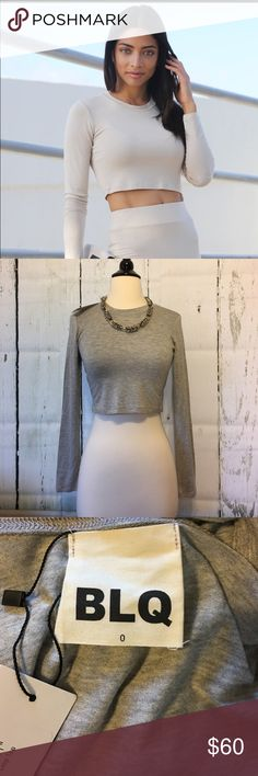 🎀🆕BLQ Crop Gray T-Shirt SOLD OUT ONLINE!🎀 Soft and luxurious, this new BLQ crop t-shirt will go from a workout to an evening out with a leather jacket and jeans! This top originally purchased at Dash and is now sold out! Size 0 is equivalent to an XS-S in this brand. BLQ Tops Crop Tops