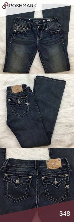"""🆕Miss Me Signature Flare Jeans - NWOT NWOT - Miss Me Signature Flare Jeans with stud and rhinestone accents on pockets.   🌺Size 26 🌺Waist (flat lay): 15""""       Front rise: 8""""       Back rise: 11""""       Inseam: 31"""" Miss Me Jeans Flare & Wide Leg"""