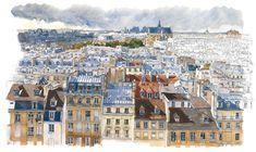 Resultado de imagem para paris toits illustration
