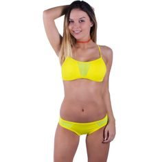 0228bea0e5338 Neon Yellow Mesh X Back Halter Bikini Top - FJ SWIM