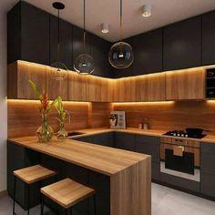 Modern Kitchen Interiors, Luxury Kitchen Design, Kitchen Room Design, Home Room Design, Kitchen Cabinet Design, Home Decor Kitchen, Interior Design Kitchen, Kitchen Furniture, Cabinet Furniture