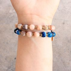 New Arrival: A beautiful 27 bead mala wrap bracelet made with smooth genuine e Sunstone and faceted bright Blue Lace Agate. http://www.bighappybuddha.com/27-bead-independence-and-confidence-wrap-bracelet.html