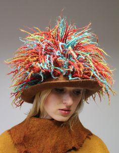 Felted hat  ~ Rainbow Verdure # Fashionable