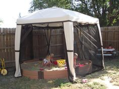 Enclosed our sandbox in a gazeebo! NO more hasseling with a cover, zip it closed!