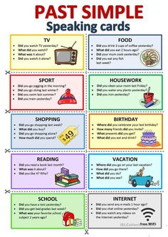 PAST SIMPLE - Speaking cards - English ESL Worksheets for distance learning and physical classrooms English Teaching Materials, English Speaking Skills, Learning English For Kids, English Lessons For Kids, Kids English, English Writing Skills, Learn English Words, English Vocabulary, Teaching English