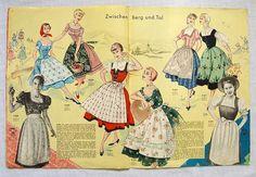 50er Jahre Dirndl Schnittmuster - 50er + 60er Vintage-Zeitschriften von zuzsa - Schnittmuster - Material - DaWanda