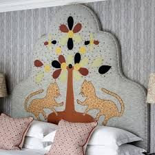 The Tree of Life Linen Headboard by Kit Kemp and Melissa Wyndham from Fine Cell Work displays their sophisticated and original designs. Linen Headboard, Feather Stitch, Upholstered Furniture, Upholstered Headboards, Felt Applique, Back Stitch, Unique Furniture, Applique Designs, Furniture Collection