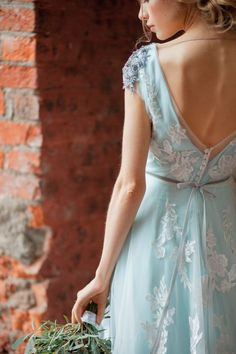 Glenny / Aquamarine wedding dress / Embroidered shoulders /