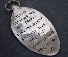 Items similar to Braver, Stronger, Smarter vintage spoon keychain on Etsy Silverware Jewelry, Spoon Jewelry, Spoon Rings, Bullet Jewelry, Cutlery, Fork Crafts, Metal Crafts, Jewelry Crafts, Handmade Jewelry
