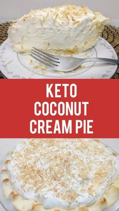 A homemade crust, filled with a creamy coconut filling, topped with whipped cream and toasted coconut. All keto friendly.