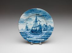 RISD Museum: Unknown artist, Dutch, Delft. Plate, 18th century. Earthenware with tin glaze and enamel. Diameter: 23.2 cm (9 1/8 inches). Bequest of Mrs. Hope Brown Russell 09.423