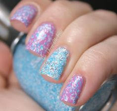 Sally Hansen Fuzzy Coat  Wool Knot ~ is a combination of bright blue and white short bar glitters.Sally Hansen Bubble Plumwas used as my base color.