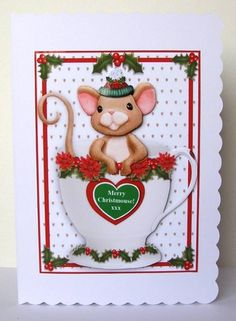 Merry Christmouse In A Mug - 5 x 7 Card Topper &amp Decoupage by Margaret McCartney