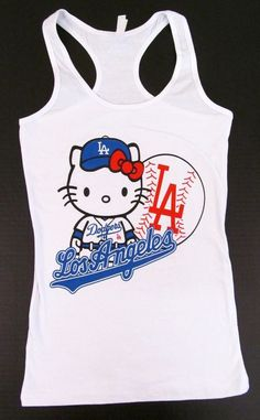 HELLO KITTY LA DODGERS Tank Top T-shirt Los Angeles Anime Cat JUNIORS S-XL White