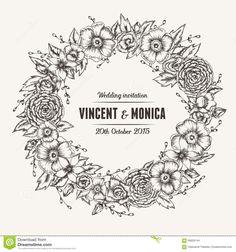 Vector Vintage Floral Wedding Invitation Stock Vector - Illustration of background, guest: 56829144