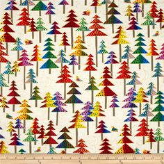 Laurel Burch Enchantment Metallic Christmas Trees Cream from @fabricdotcom  Designed by Laurel Burch for Clothworks, this cotton print fabric is perfect for quilt or craft projects, apparel and home décor accents. Colors include red, orange, yellow, green, blue, purple, pink, grey, black and white with gold metallic accents.