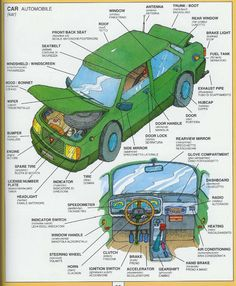 English Vocabulary: Different Parts of a Car Learn English Grammar, English Fun, Learn English Words, English Language Learning, English Study, English Lessons, Teaching English, English Tips, Italian Vocabulary