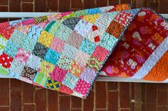 "More of my 3 1/2"" scrappy squares patchworked together as a picnic quilt. Blogged at: http://sewandsews.blogspot.com.au/2012/06/picnicker.html"