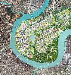 """This is called the """"Thu Thiem Master Plan"""" located in Ho Chi Minh City, Vietnam. Planned by Sasaki Associates. Urban Design Diagram, Urban Design Plan, Futuristic Architecture, Landscape Architecture, Architecture Diagrams, Architecture Portfolio, Urban Landscape, Landscape Design, City Skylines Game"""