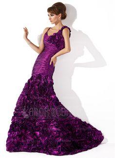 Trumpet/Mermaid Scoop Neck Sweep Train Taffeta Evening Dress With Ruffle Flower(s) - JJsHouse Prom Dress 2014, Prom Dresses, Plus Size Evening Gown, Beautiful Evening Gowns, Cheap Evening Dresses, Elegant Dresses, Mermaid Gown, Formal Gowns, Formal Wear